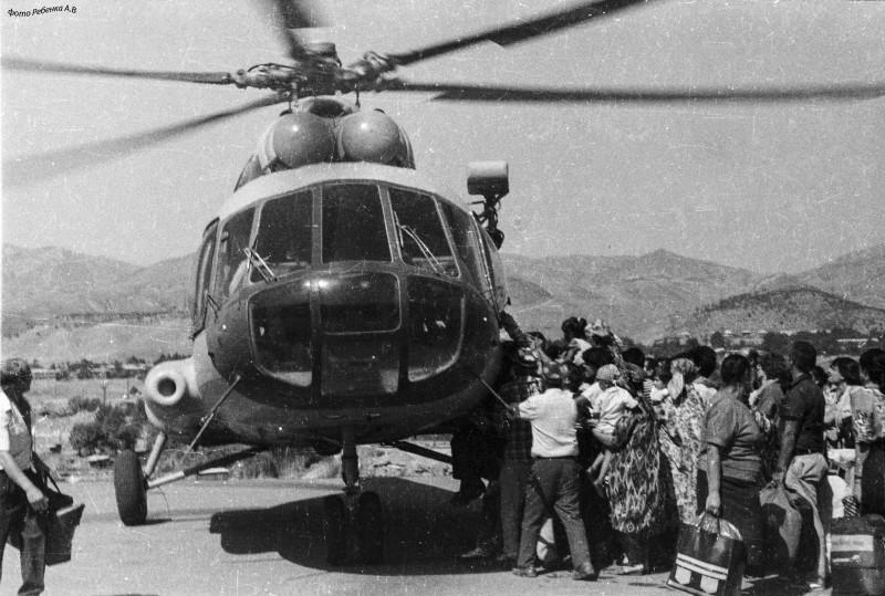 город Нурек, вертолётная площадка, сентябрь 1992 год