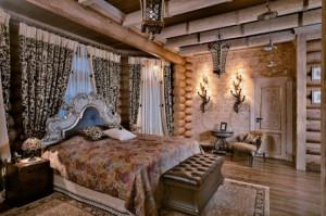 интерьер под русскую старину - спальня в