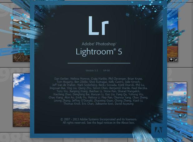 Lightroom about Screenshot