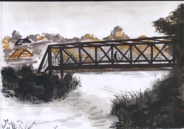 красный мост акварель