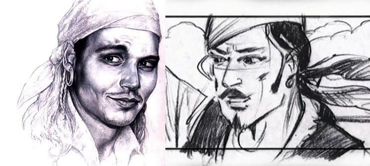 Один из первых рисунков образа Джека Воробья и раскадровка к сценарию фильма.