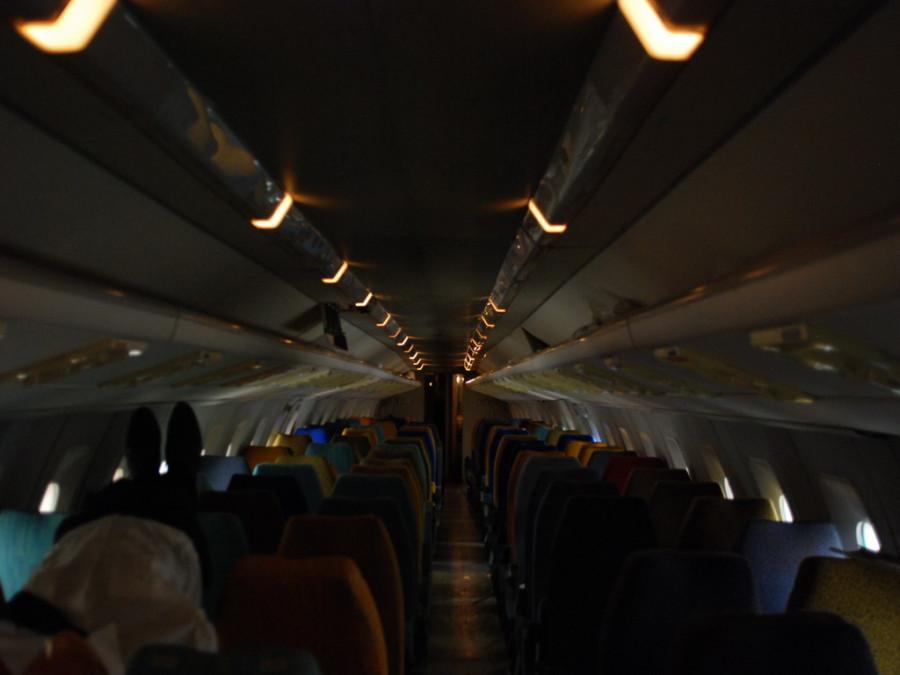 Дежурное освещение салона самолета