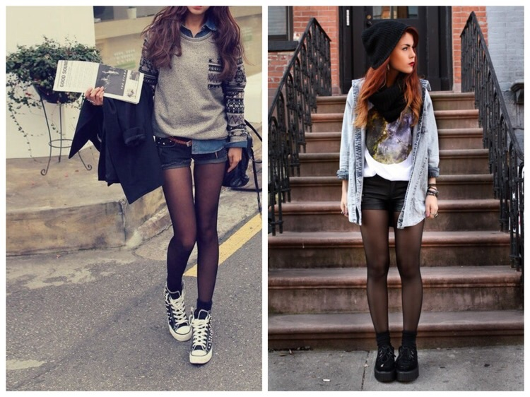 фотография девушек в капроновых колготках разного цвета и в шортиках под колготки