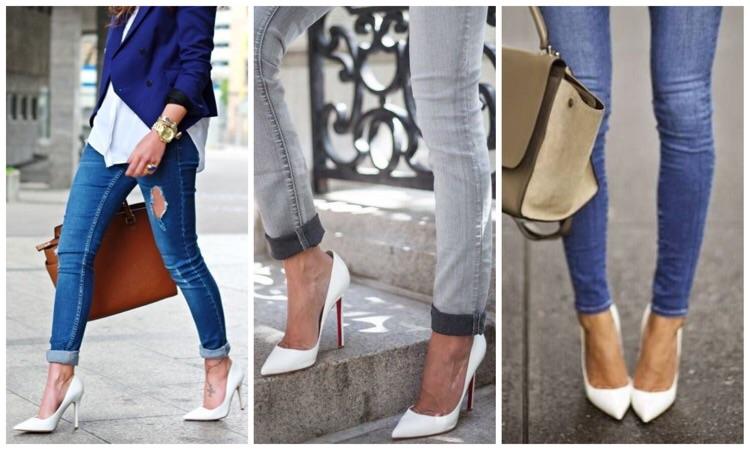 Белые туфли с белой  фото