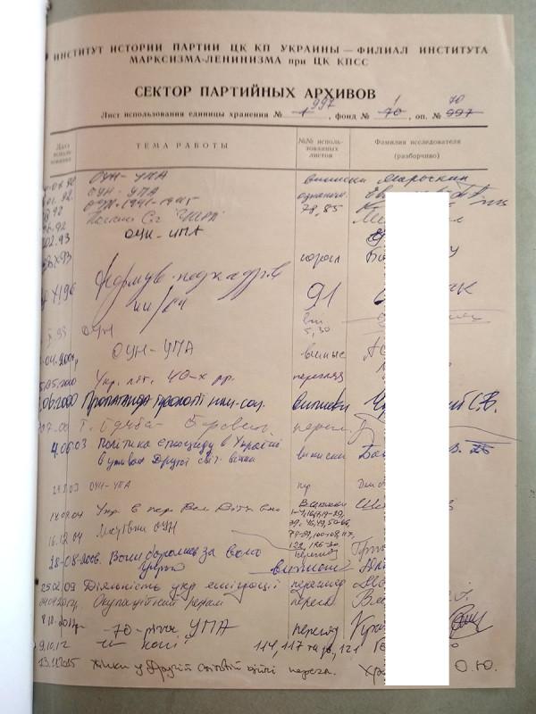 Лист использования архивного дела. Первая подпись— Василий Марочкин