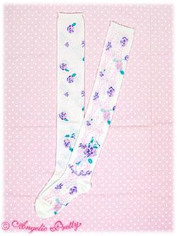 Angelic Pretty Sugar Pansy OTK Socks (white) 1 24,00 €