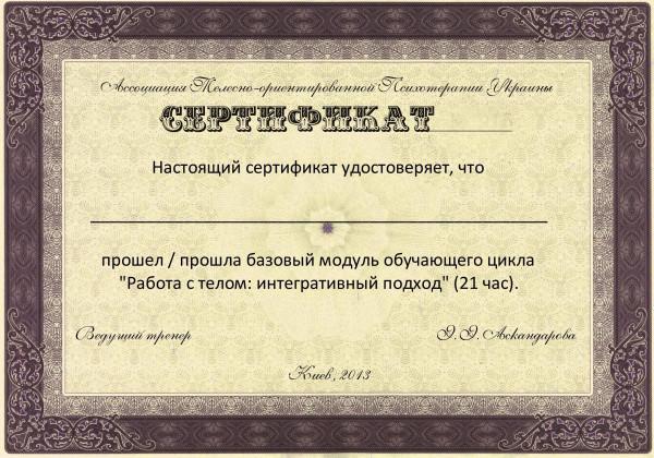 сертификат Шаблон 1 трехдневка ж