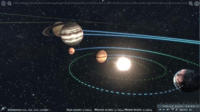 Компьютерная модель солнечной системы. Выглядит реалистичней, чем то, что видим в любом телескопе.