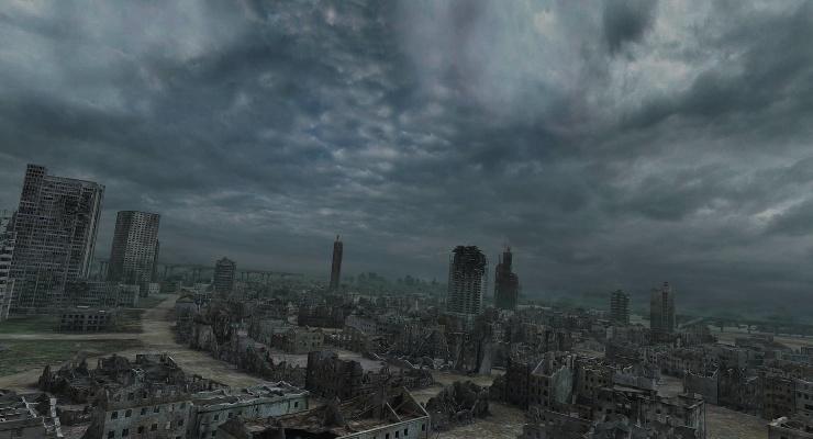 Город после апокалипсиса. Вероятно сильное радиационное заражение.