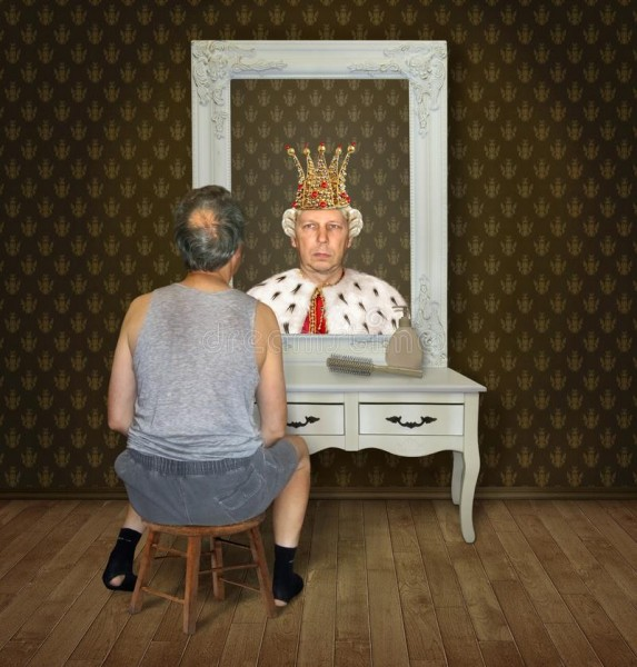 man-views-his-reflection-balding-torn-socks-funny-reflections-mirror-sees-king-gold-crown-140860869