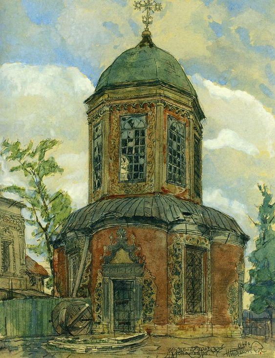 Церковь Николы в Пыжах. 1670-1672 гг. Рисунок 1947 г.