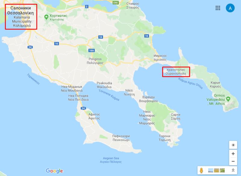 Путь на общественном транспорте до Афона проходит через город Салоники и деревушку Уранополис