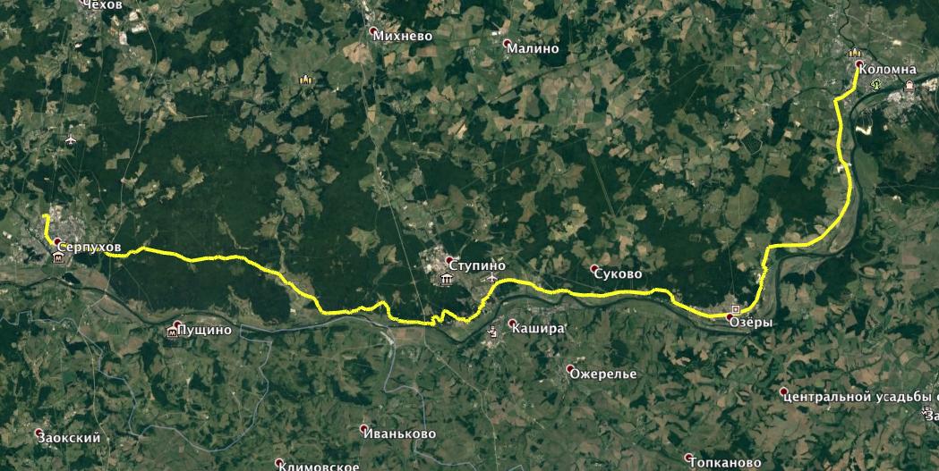 Маршрут Серпухов - Коломна (Google Earth)