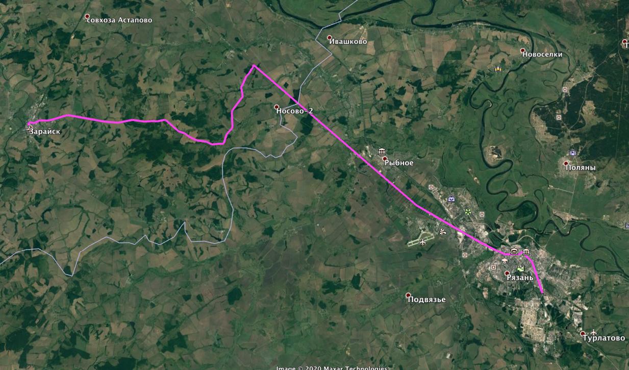 Рязань - Зарайск (Google Earth)