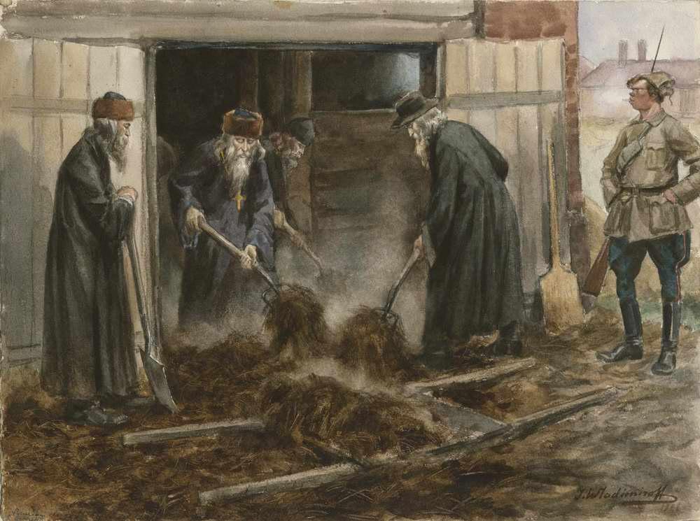 Духовенство на трудовой повинности (по очистке конюшен). 1918.