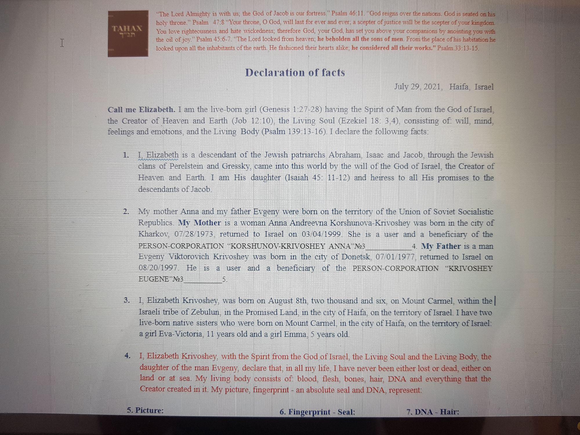 Declaration of facts. Elizabeth Krivoshey.