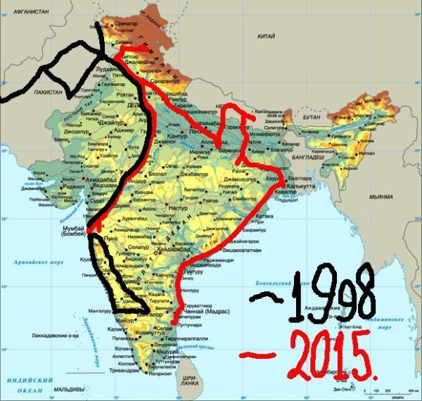 Индия карта 2015