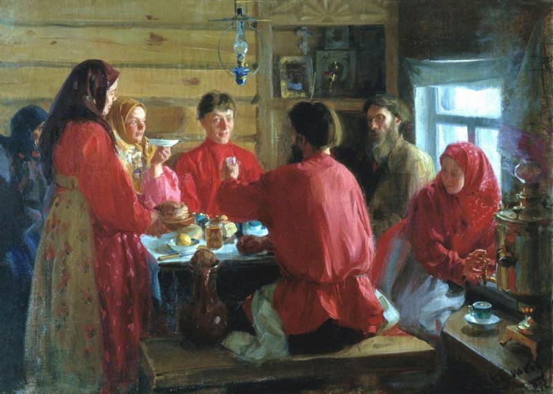 Иван Куликов 1902  Чаепитие в крестьянской избе