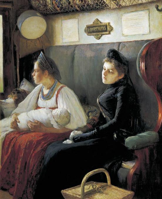 Леонид Пастернак К родным 1891 г. купе в поезде