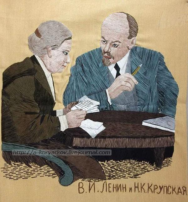 Портрет-В.И.Ленина-и-крупской-вышитый-1967-г---Музей-заповедник-Шушенское-2