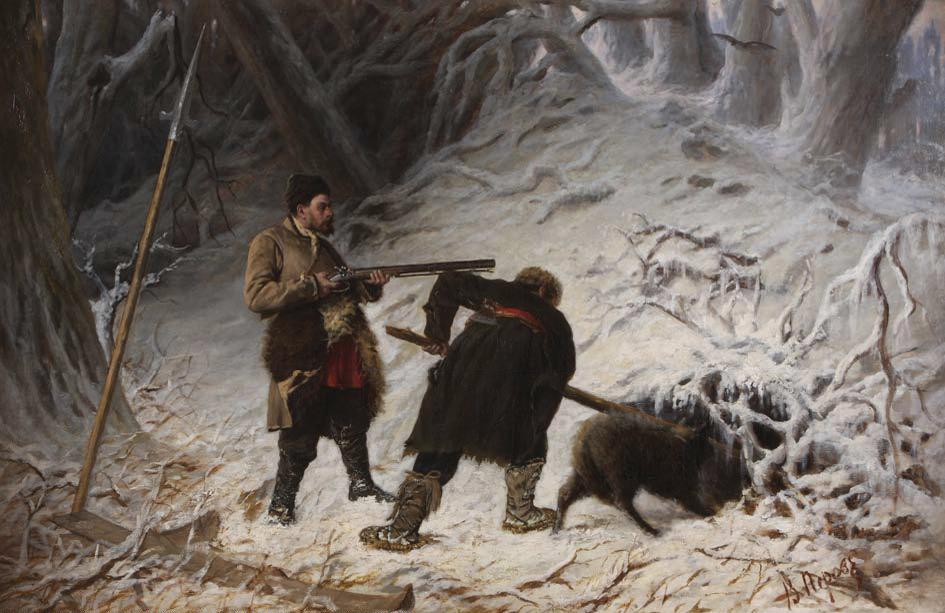 Перов Охота на медведя зимой.