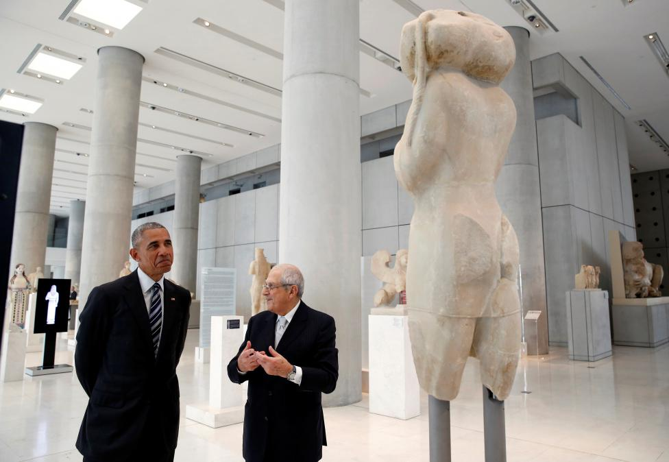 President Barack Obama tours the Acropolis Museum in Athens