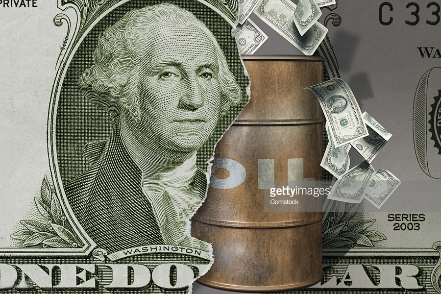 Oil barrel and dollar bill