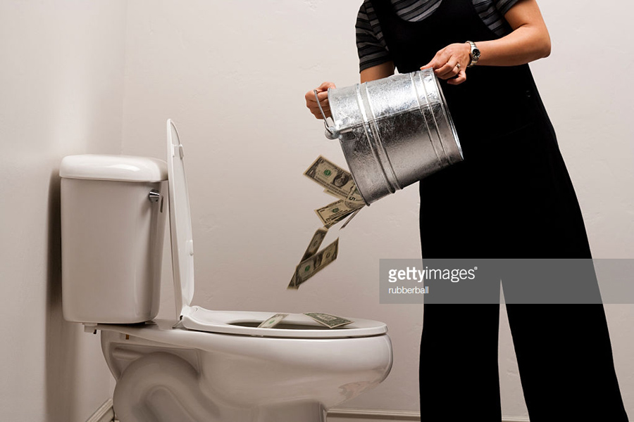 Dollars down the toilet