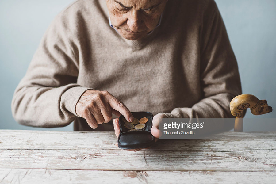 Elderly man look for money