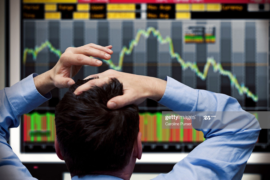 Trader watching crash
