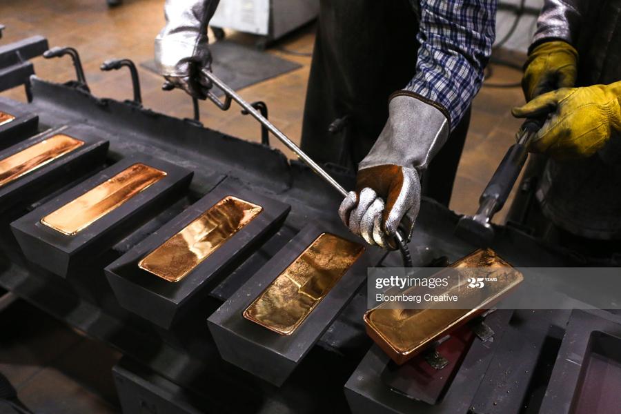 Gold ingots in Russia