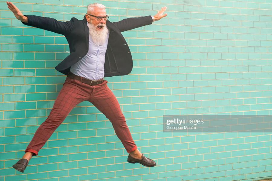 Old man jumping