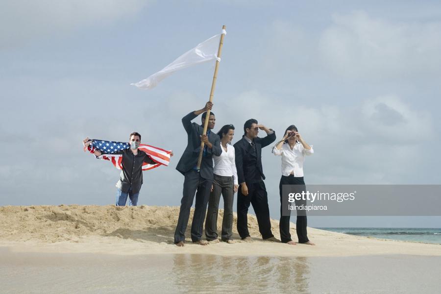 White flag at beach