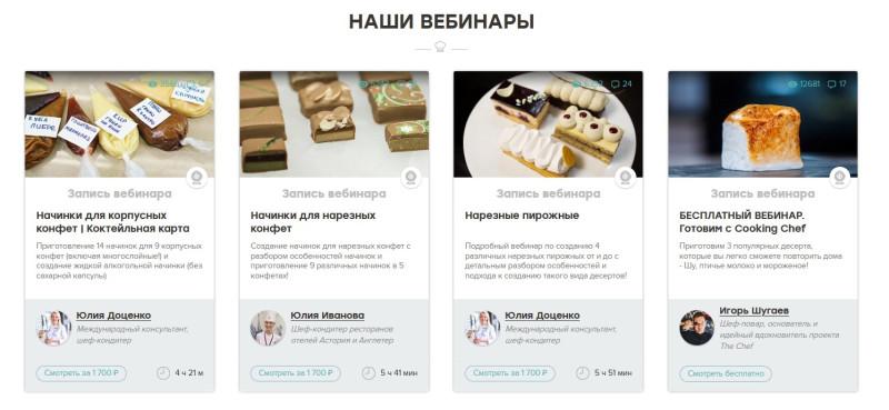 Вебинары от шеф-поваров онлайн--академии THE CHEF