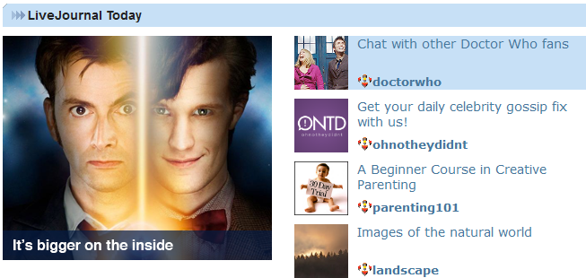 doctor who lj front page