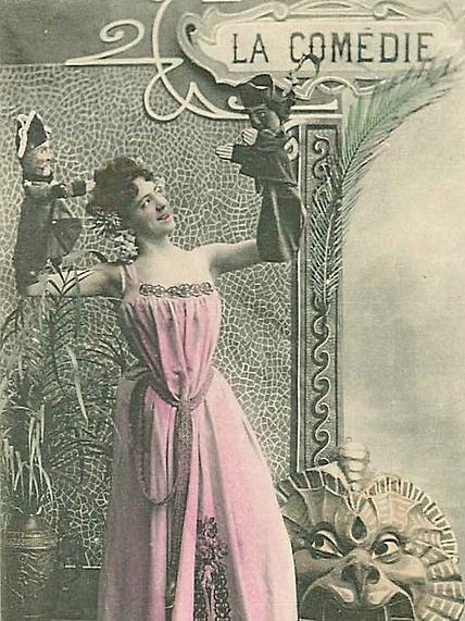ретро-открытка муза комедии (обрезка)