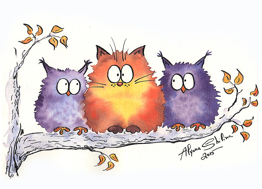 Картинка коты и сова