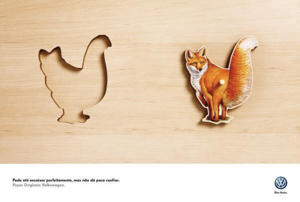 трафарет лисы, который идеально входит в силует курицы