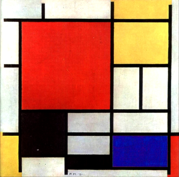 Модриан композиция с жёлтым голубым и красным