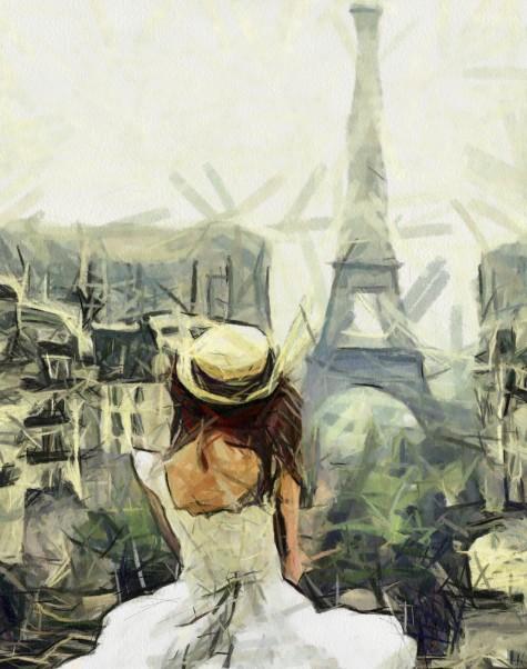 девочка на фоне эйфелевой башни