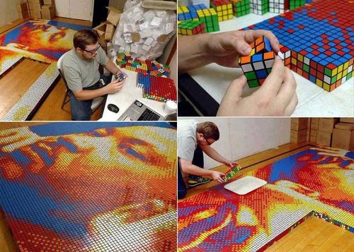 Выкладывание мозаики кубиком Рубика