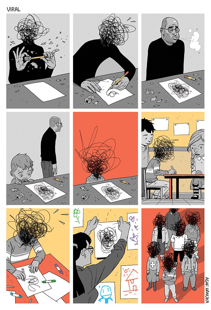 комикс про художника и детей
