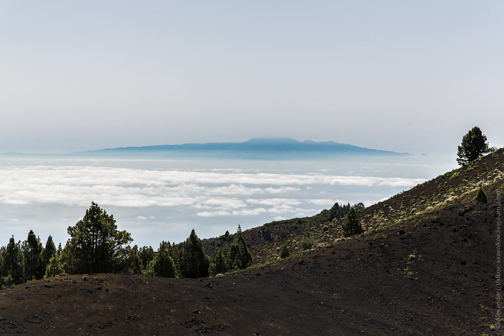 Вид на Тенерифе. К сожалению, с погодой нам повезло не очень и верхний слой облаков скрывал вершину Тейде. Кстати, расстояние до него от этой точки больше 100 км!