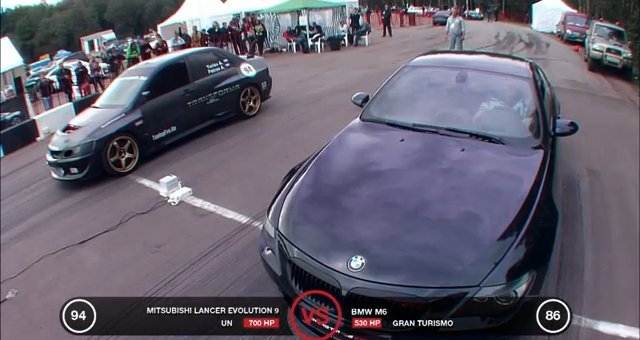 BMW M6 vs Mitsubishi Lancer Evolution
