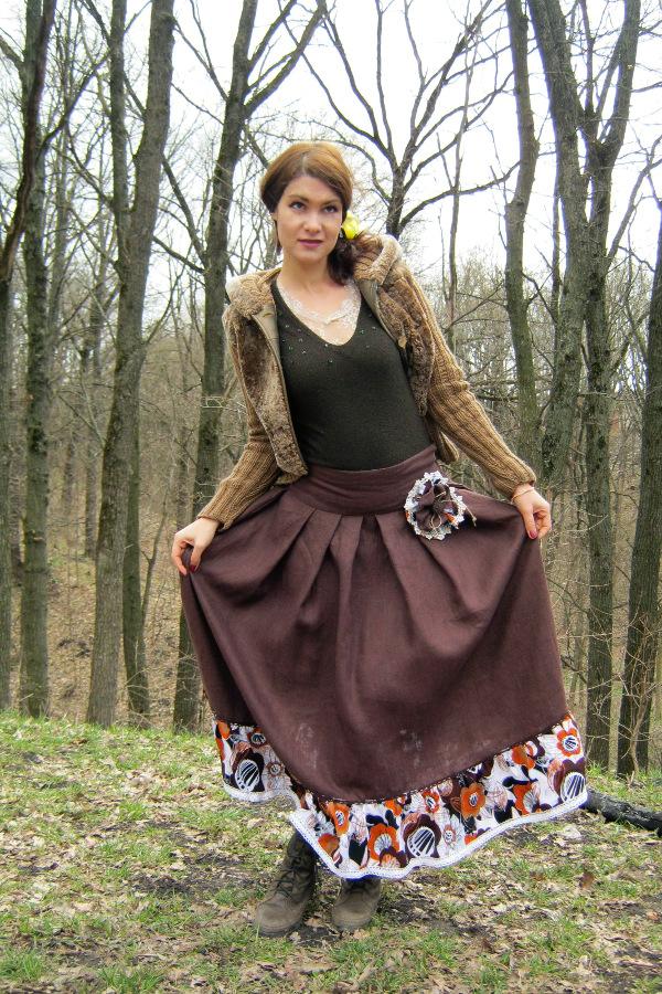 Льняная юбка с цветами 004