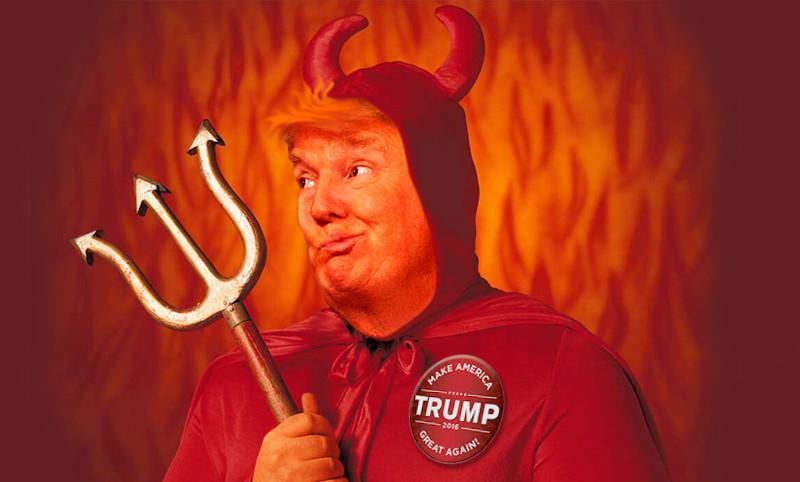 Трамп с рогами