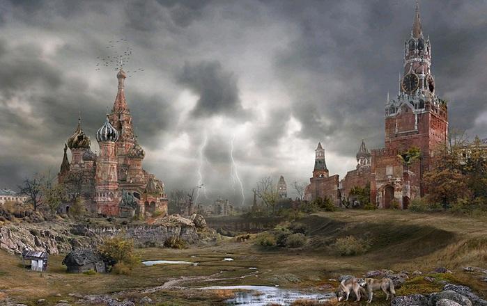 Обломки старого Кремля. Апофеоз действия Велги на картине современного художника