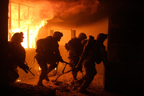 marines in burning building