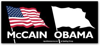 bumper sticker obama white flag