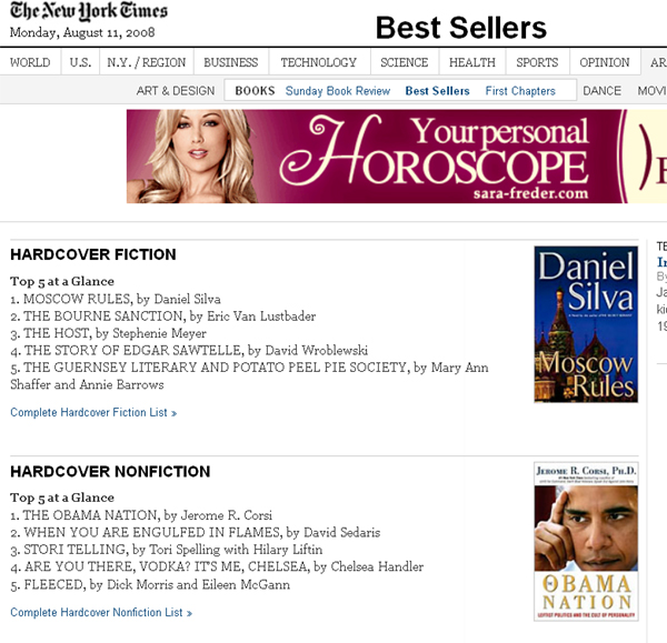 bestseller NYtimes 081108